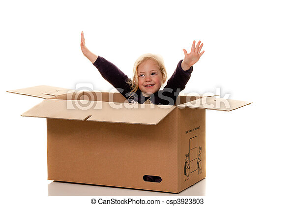 Child in cardboard box. If moving to box. - csp3923803