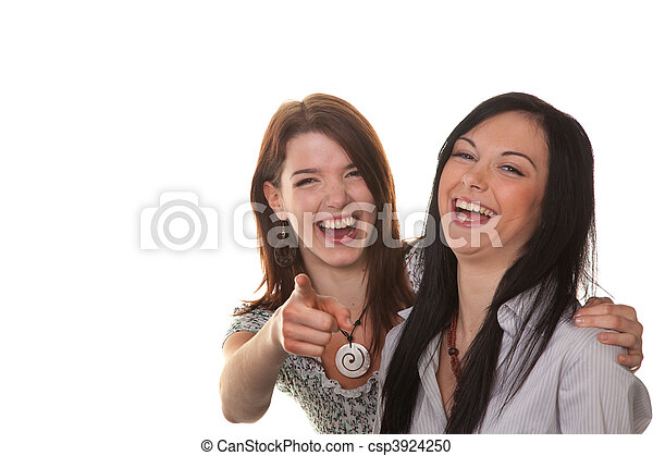 Two young women burst into laughter - csp3924250