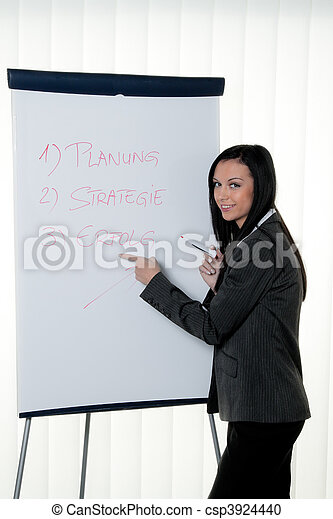 Coach flip chart in German. Training and education - csp3924440