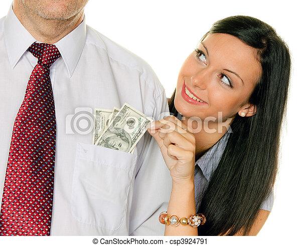 stock fotografie von frau zieht a mann heraus von der geld tasche dollar csp3924791. Black Bedroom Furniture Sets. Home Design Ideas