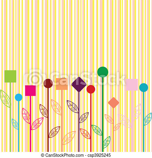 Background with colored stylizewd flowers made of geometrical shapes - csp3925245
