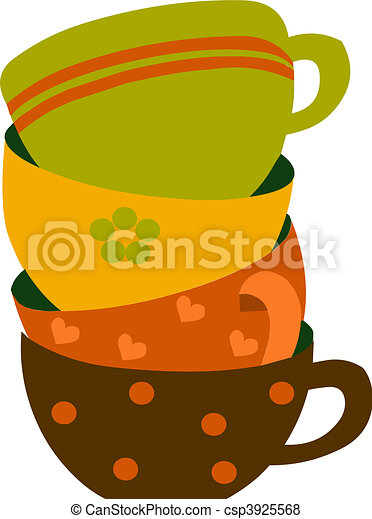 four colorful cups, vector illustration - csp3925568