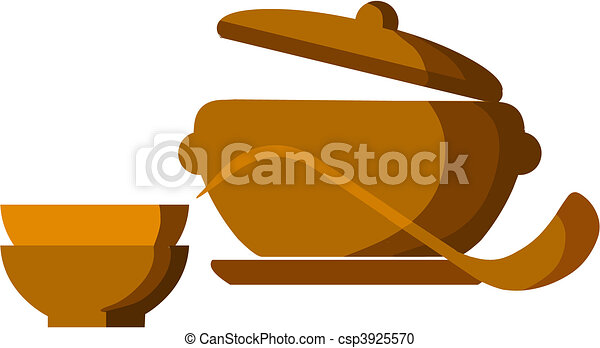 brown soup pot with bowls and spoon  - csp3925570