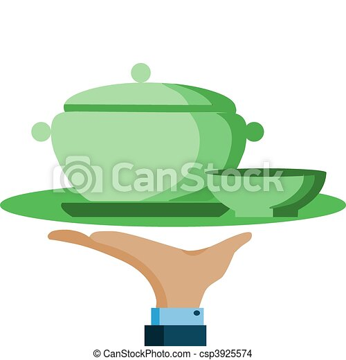 hand hold a serving tray with green pot and bowl - csp3925574