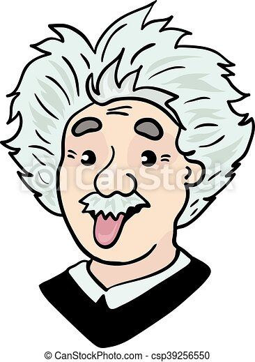 Clipart Vector of Albert Einstein portrait with tongue out ...