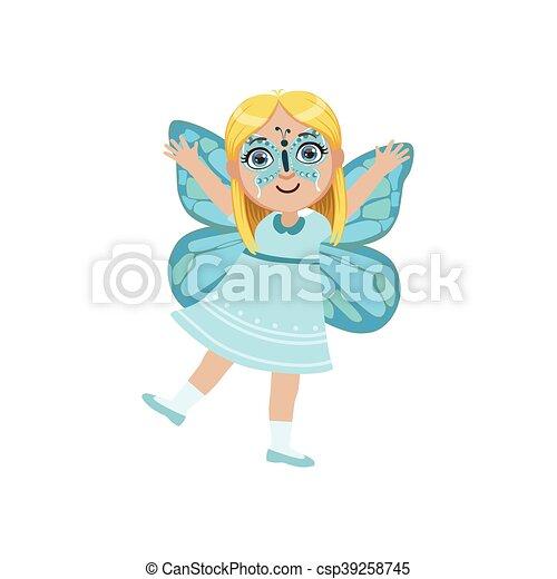 vector llevando mariposa nia disfraz animal