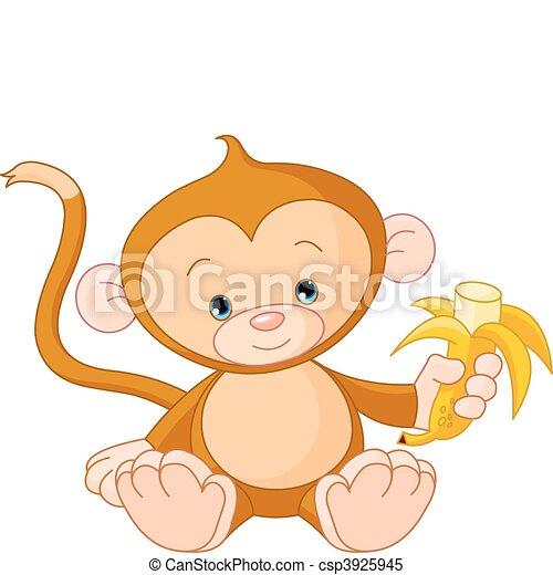Baby Monkey eating banana - csp3925945