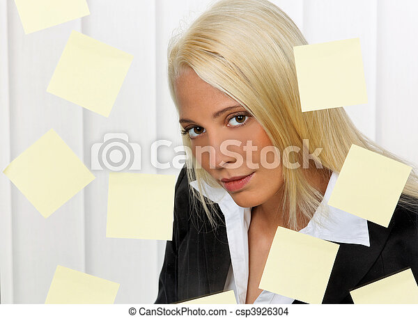 Women with post its many tasks - csp3926304