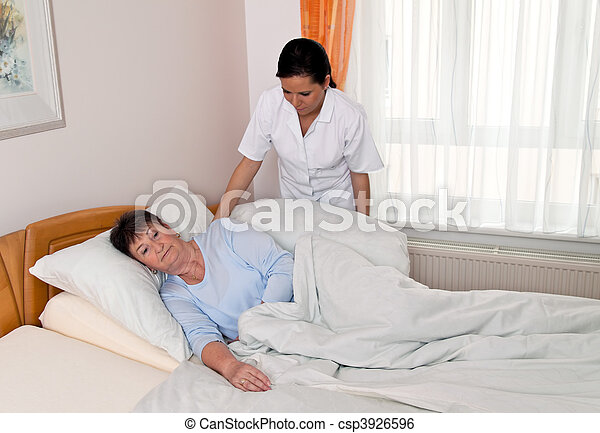 Nurse in aged care for the elderly in nursing homes - csp3926596