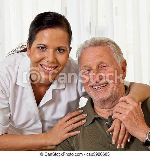 Nurse in aged care for the elderly in nursing homes - csp3926605
