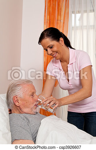 Nurse in aged care for the elderly in nursing homes - csp3926607