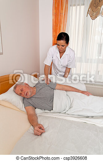 Nurse in aged care for the elderly in nursing homes - csp3926608