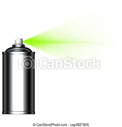 spraying green mist spray can seen from the side - csp3927605