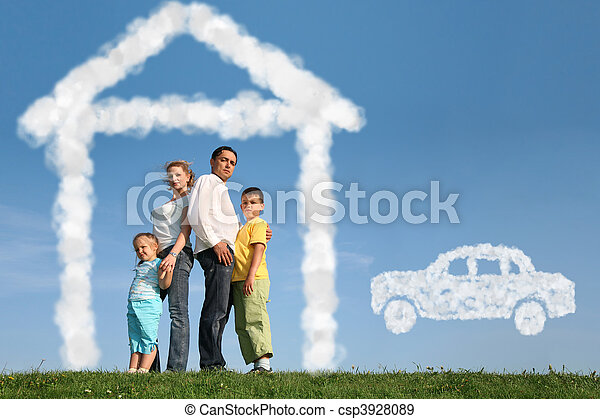 family of four dreams about house and car, collage - csp3928089