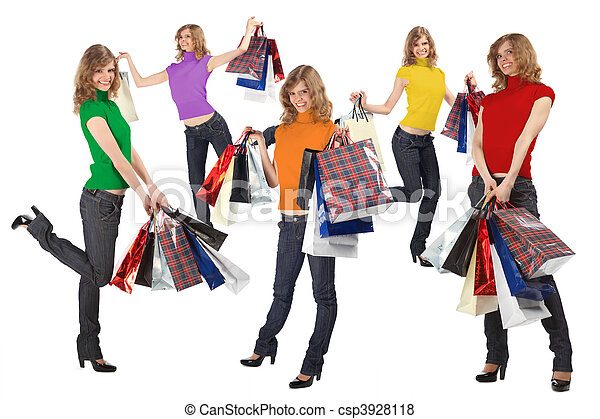 many happy blondes with rainbow color dress and paper bags full body, collage - csp3928118