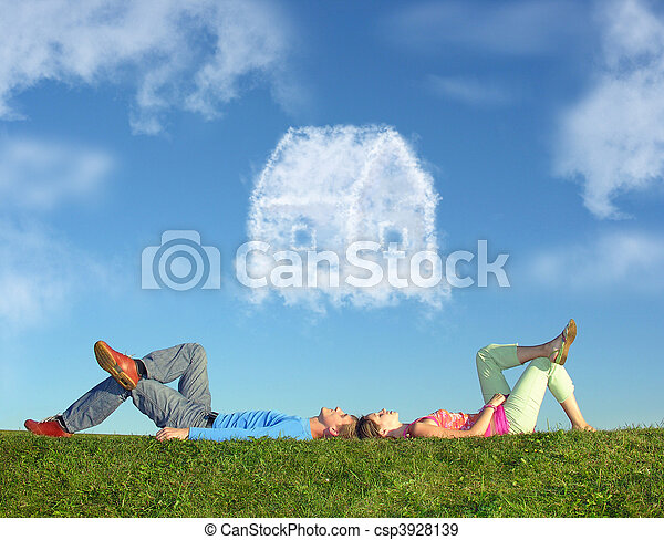 lying couple on grass and dream house collage - csp3928139