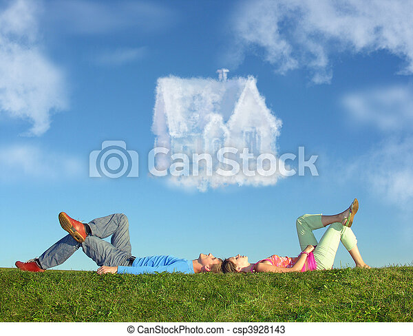 lying couple on grass and dream house collage - csp3928143