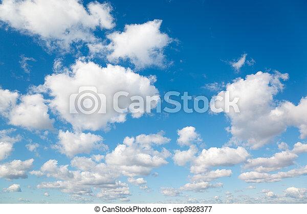 bleu, nuages, ciel, pelucheux, nuages, fond, blanc - csp3928377
