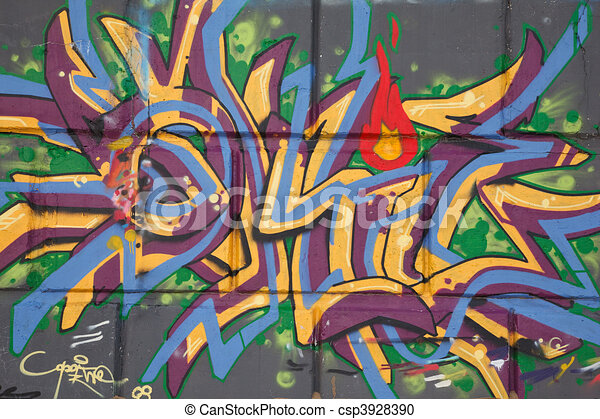 Bright graffiti on concrete wall. Abstract drawing. Street graphics. - csp3928390