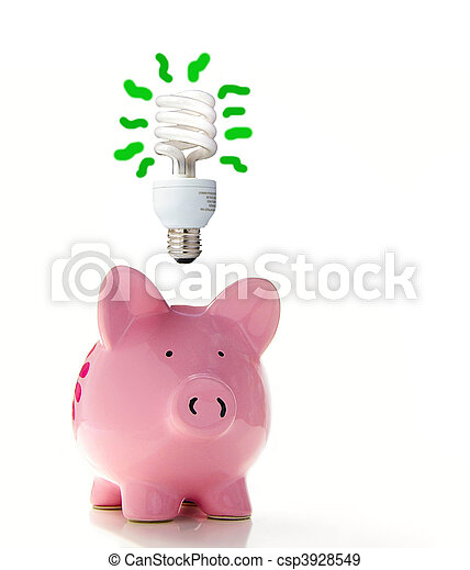 Piggy bank with a CF bulb above (smart energy) - csp3928549