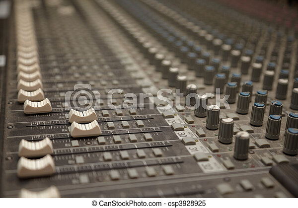 faders of dusty sound mixer. two faders in focus - csp3928925