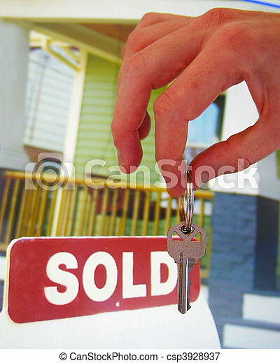House for sale with sold sign and hand holding a key - csp3928937