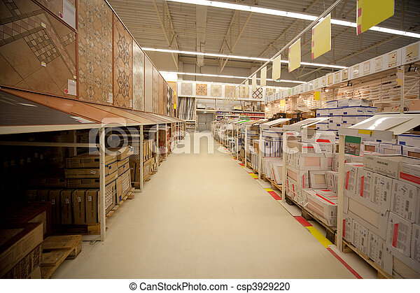 Racks with ceramic tile in warehouse of building materials - csp3929220