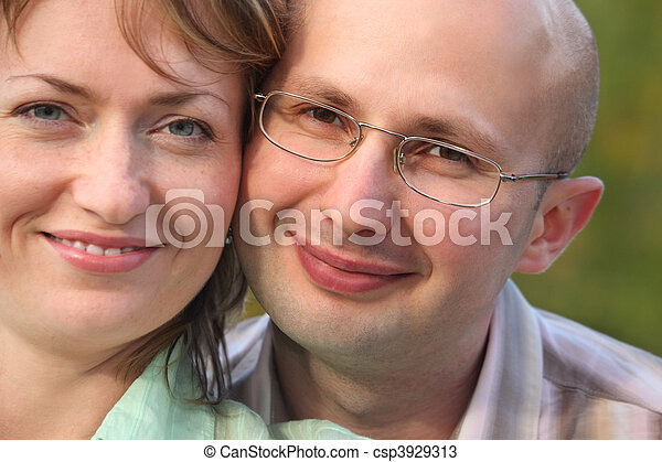 faces of happiness man and woman. man and woman are cuddling - csp3929313
