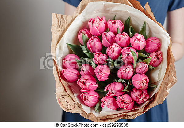 photographies de rose, femme, pivoine, mère, bouquet, tulipes