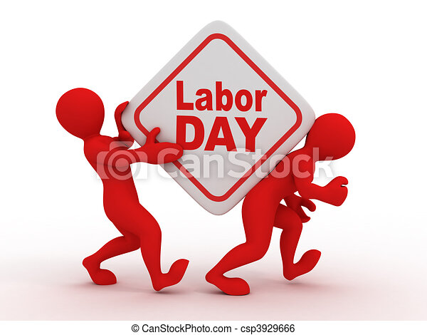 People with box with the inscription labor day. - csp3929666