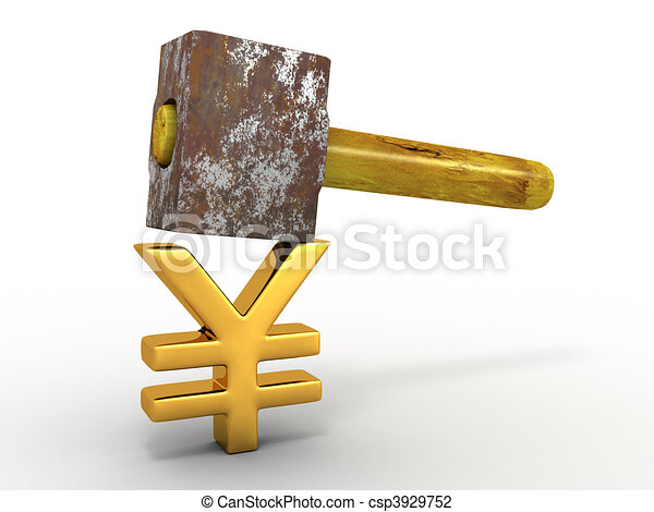 Hammer with sign yen - csp3929752