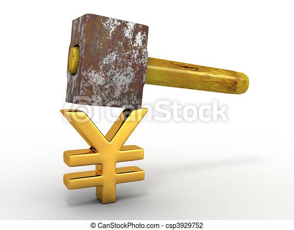 Hammer with sign yen - csp3929752