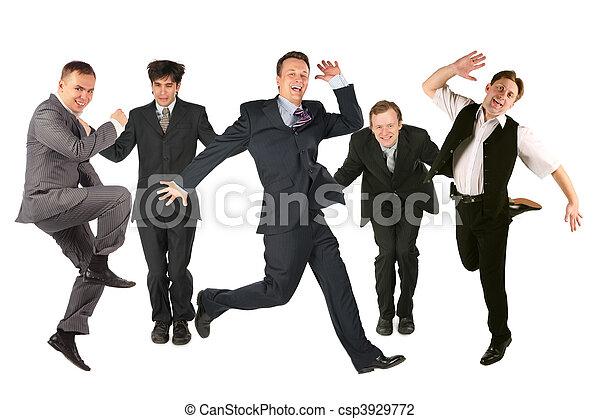 många, vit, män, Hoppning - csp3929772