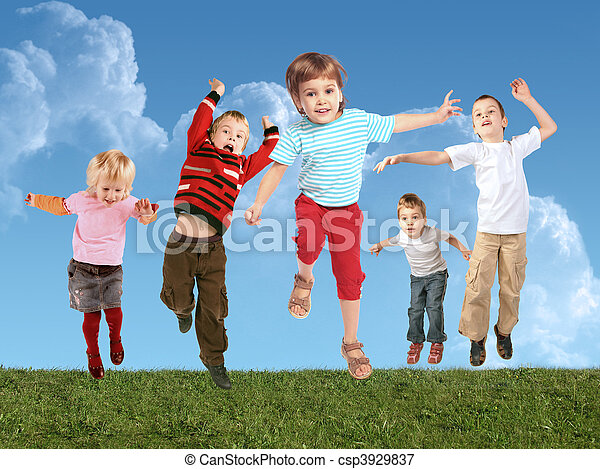 Many jumping children on grass, collage - csp3929837