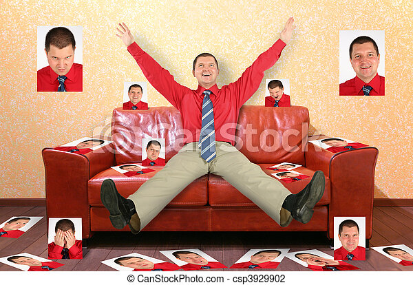 man on the leather red sofa with the photographs, collage - csp3929902