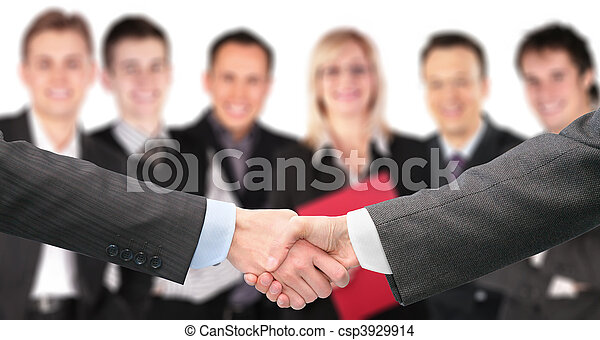 shaking hands with wrists and six business group out of focus collage - csp3929914