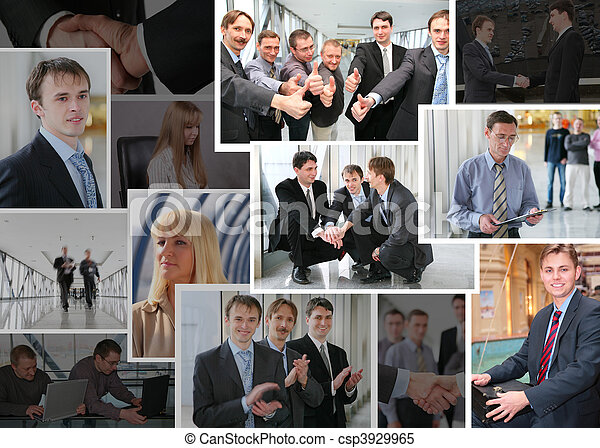 Collection of many business photos with people, collage - csp3929965