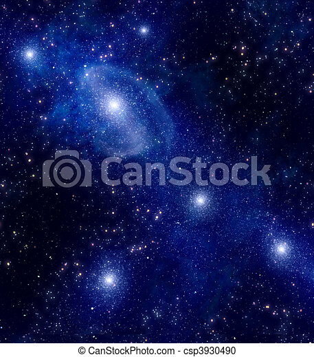 starry deep outer space nebula and galaxy  - csp3930490