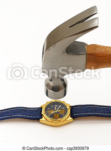 Hammer smashing luxurious wrist watch - csp3930979
