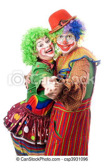 A couple of smiling clowns dancing - csp3931096