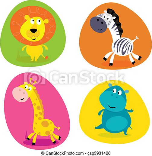 Cute safari animals set - lion... - csp3931426