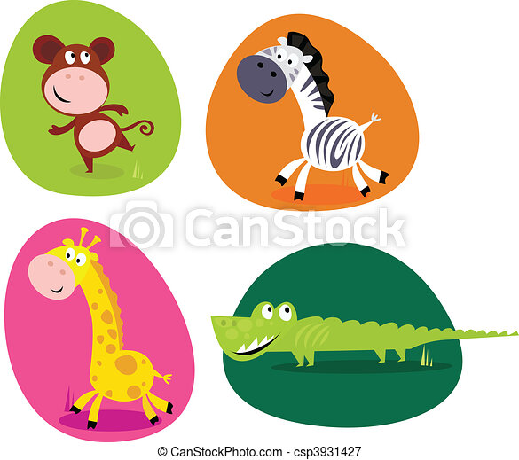 Cute safari animals set - monkey.. - csp3931427