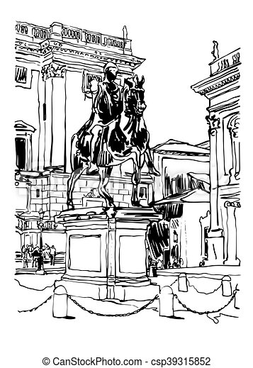 Clipart Vector of black and white drawing of Rome Italy ...