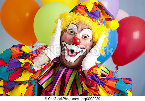 Surprised Birthday Clown - csp3932030