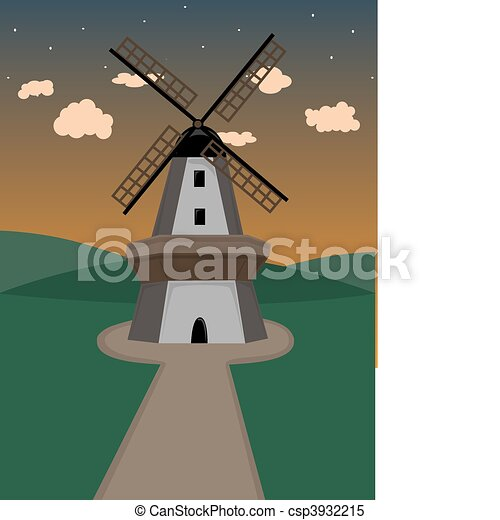 Windmill in hilly field at dusk - csp3932215