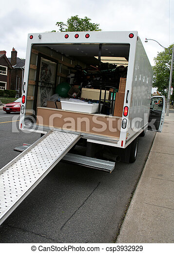 Moving Truck on the Street - csp3932929