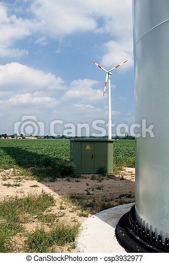 Wind turbine, transformer and footing of tower - csp3932977