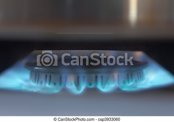 Blue flames of propane burner - csp3933060