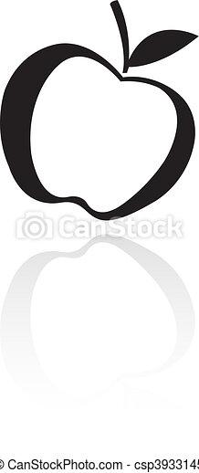 Black line art apple - csp3933145