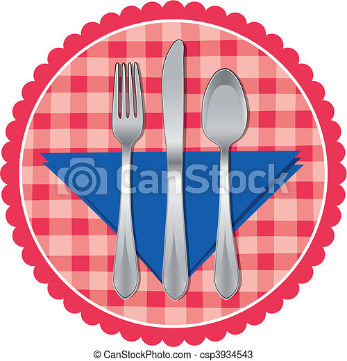 Spoon, fork & knife on table cloth - csp3934543